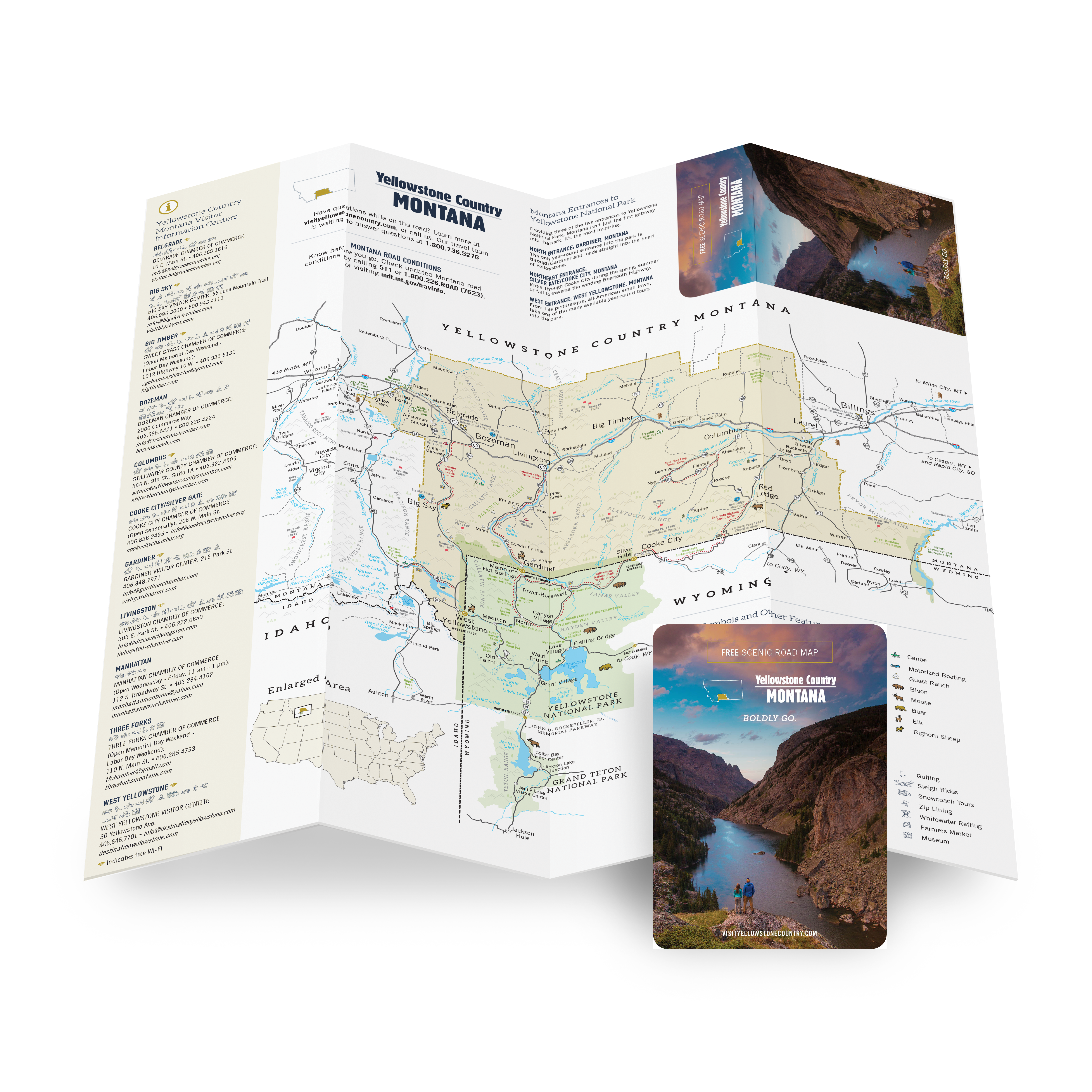 Download a PDF of the Yellowstone Country Montana Scenic Road Map covering southern Montana and Yellowstone National Park.